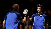 Rotterdam, The Netherlands, 15 Februari 2020, ABNAMRO World Tennis Tournament, Ahoy,<br /> Men's Doubles Final: Pierre-Hugues Herbert (FRA) and Nicolas Mahut (FRA) win the first set.<br /> Photo: www.tennisimages.com