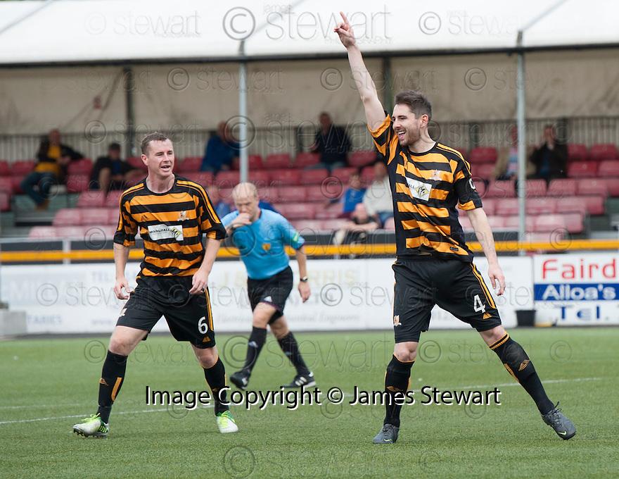 Alloa's Ben Gordon celebrates after he scores their first goal.