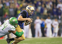 Star defensive end DeForest Buckner sacks Jake Browning.