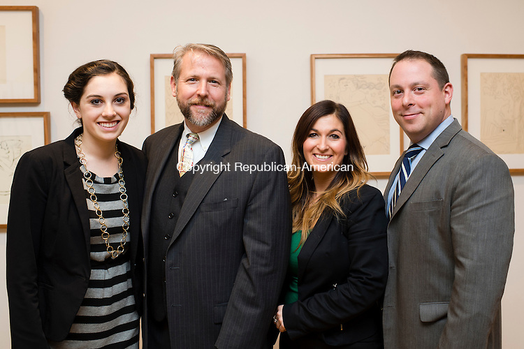 WATERBURY, CT- 20 November 2015-112015EC09-  Social Moments. The Mattatuck Museum in Waterbury hosted an opening for several art exhibitions spanning each floor of the building. From L to R: Julie Donato, Courtney Ligi, Bob Burns and Louis S. Lacman. Erin Covey Republican-American