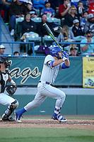 Josh Adams (25) of the UC Santa Barbara Gauchos bats against the Cal State Long Beach Dirtbags at Blair Field on April 1, 2016 in Long Beach, California. UC Santa Barbara defeated Cal State Long Beach, 4-3. (Larry Goren/Four Seam Images)