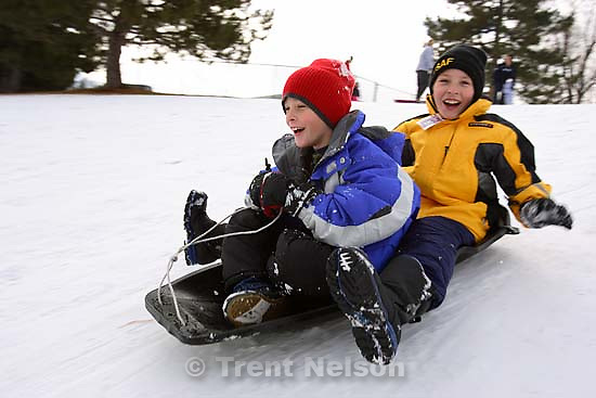 Noah Nelson, Nathaniel Nelson sledding. 1.21.2006<br />