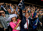ELMONT, NY - JUNE 09: Kenny Trout and his family celebrate Justiy's win in the 150th running of the Belmont Stakes at Belmont Park on June 9, 2018 in Elmont, New York. (Photo by Scott Serio/Eclipse Sportswire/Getty Images)