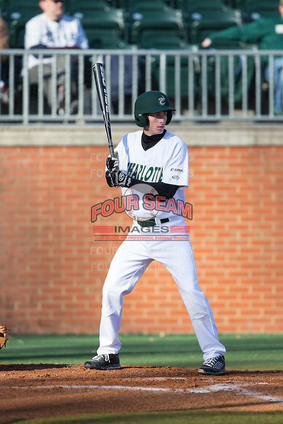 Hunter Jones (33) of the Charlotte 49ers at bat against the Rice Owls at Hayes Stadium on March 6, 2015 in Charlotte, North Carolina.  The Owls defeated the 49ers 4-2.  (Brian Westerholt/Four Seam Images)