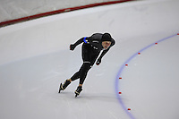 SCHAATSEN: HEERENVEEN: Thialf, 4th Masters International Speed Skating Sprint Games, 25-02-2012, Arjan Bakker (M50) 1st, ©foto: Martin de Jong