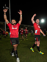 Crusaders Richie Mo'unga and Ryan Crotty celebrate following the 2018 Super Rugby final between the Crusaders and Lions at AMI Stadium in Christchurch, New Zealand on Sunday, 29 July 2018. Photo: Joe Johnson / lintottphoto.co.nz