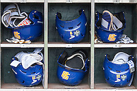 UC Santa Barbara Gauchos helmet rack on June 20, 2016 at TD Ameritrade Park in Omaha, Nebraska. (Andrew Woolley/Four Seam Images)