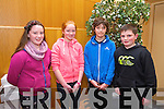 Emiy O'Grady, Hannah Joy, Donal Brannan Cormack Doyle, from Scoil Mhuire Ns, Killorglin at the Chapter 23 Credit Union Schools Quiz finals at Ballyroe Heights Hotel on Sunday
