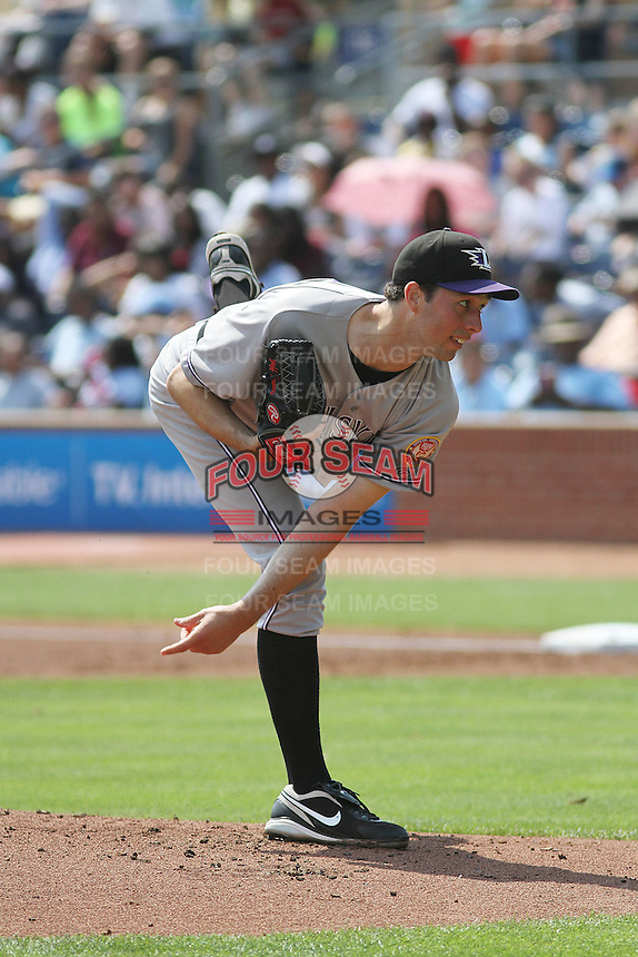 Louisville Bats pitcher Jeff Francis #26 on the mound during a game against the Durham Bulls at Durham Bulls Athletic Park on May 2, 2012 in Durham, North Carolina. Durham defeated Louisville by the score of 7-5. (Robert Gurganus/Four Seam Images)