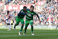 Swansea City's Alberto Paloschi celebrates his equalising goal during the Barclays Premier League match between Stoke City and Swansea City played at Britannia Stadium, Stoke on April 2nd 2016