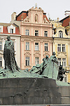 Jan Hus Memorial in the Old Town Square in Prague, Czech Republic.