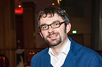 Maurice Fitzpatrick, author, creative director, Creeney Films Ltd, Derryvonny, Belturbet, Co Cavan, Rep of Ireland, at Belfast book launch of John Hume in America: From Derry to DC. 25th January 2018, 201801254824<br /><br />Copyright Image from Victor Patterson, 54 Dorchester Park, <br />Belfast, UK, BT9 6RJ<br /><br />t1: +44 28 9066 1296 (from Rep of Ireland 048 9066 1296)<br />t2: +44 28 9002 2446 (from Rep of Ireland 048 9002 2446)<br />m: +44 7802 353836<br /><br />victorpatterson@me.com<br />www.victorpatterson.com<br /><br />Please see my Terms and Conditions of Use at VICTORPATTERSON.COM. It is IMPORTANT that you familiarise yourself with them.<br /><br />Images used on the Internet must be visibly watermarked i.e. &copy;VICTORPATTERSON.COM within the body of the image and copyright metadata must not be deleted. Images used on the Internet have a size restriction of 4kbs and are chargeable at the then current NUJ rates.<br /><br />This image is only available for the use of the download recipient i.e. television station, newspaper, magazine, book publisher, etc, and must not be passed on to any third party. It is also downloaded on condition that each and every usage is notified within 7 days to victorpatterson@me.com<br /><br />The right of Victor Patterson to be identified as the author is asserted in accordance with The Copyright Designs And Patents Act (1988).