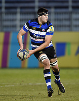 Rhys Davies of Bath United looks to pass the ball. Aviva A-League match, between Bath United and Harlequins A on March 26, 2018 at the Recreation Ground in Bath, England. Photo by: Patrick Khachfe / Onside Images