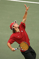 28 September 2007: Alex Clayton during an exhibition match against Great Britain University at the Taube Family Tennis Center in Stanford, CA.