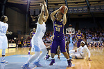 30 December 2014: Albany's Tiana-Jo Carter (33) and North Carolina's Allisha Gray (15). The University of North Carolina Tar Heels hosted the University at Albany Great Danes at Carmichael Arena in Chapel Hill, North Carolina in a 2014-15 NCAA Division I Women's Basketball game. UNC won the game 71-56.