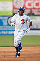 Right Fielder Nelson Perez #16 of the Daytona Beach Cubs rounds second base after hitting his homerun against the Brevard County Manatees at Jackie Robinson Ballpark on April 9, 2011 in Daytona Beach, Florida. Photo by Scott Jontes / Four Seam Images