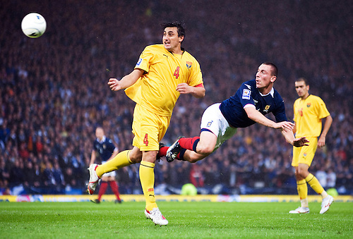 5TH SEPT 2009, SCOTLAND V MACEDONIA AT HAMPDEN PARK, GLASGOW, SCOTT BROWN SCORING SCOTLAND'S OPENING GOAL AGAINST MACEDONIA, ROB CASEY PHOTOGRAPHY.
