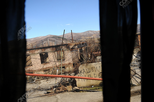 On the side of the main road to the South Ossetian capital Tskinval, from the Russian border, a string of abandoned and destroyed formerly Georgian populated villages were plainly visible from a bus taking a group of foreign journalists on an official visit to South Ossetia. February 12, 2009