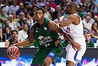 Real Madrid's player Dontaye Draper and Unicaja Malaga's player Jeff Brooks during match of Liga Endesa at Barclaycard Center in Madrid. September 30, Spain. 2016. (ALTERPHOTOS/BorjaB.Hojas) /NORTEPHOTO