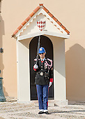 A lone sentry stands guard in front of the entrance to the Prince's Palace of Monaco, the official residence of the Prince of Monaco, currently Prince Albert II, in Monaco on Monday, October 21, 2013.<br /> Credit: Ron Sachs / CNP