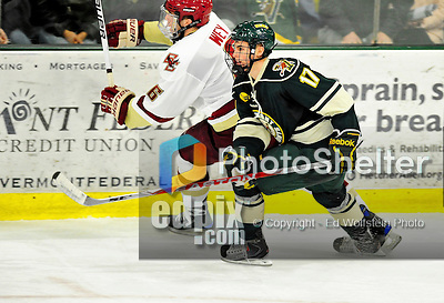 12 November 2010: University of Vermont Catamount forward Matt Marshall, a Junior from Hingham, MA, in action against the Boston College Eagles at Gutterson Fieldhouse in Burlington, Vermont. The Eagles edged out the Cats 3-2 in the first game of their weekend series. Mandatory Credit: Ed Wolfstein Photo
