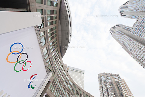 General view, JULY 24, 2015 : Olympic and Paralympic  logos are seen before an unveiling event for the Tokyo 2020 Olympic and Paralympic games official emblems at Tokyo Metropolitan Government Building in Tokyo July 24, 2015. The Tokyo Organising Committee of the Olympic and Paralympic Games unveiled the emblems on Friday, to mark the exactly five years before the 2020 Summer Games open in Tokyo. (Photo by AFLO)