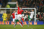 Sam Vokes of Wales battles Oliver Norwood of Northern Ireland during the international friendly match at the Cardiff City Stadium. Photo credit should read: Philip Oldham/Sportimage
