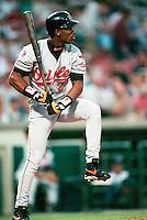 Eric Davis of the Baltimore Orioles during a game at Anaheim Stadium in Anaheim, California during the 1997 season.(Larry Goren/Four Seam Images)