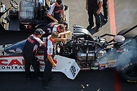 Aug 19, 2017; Brainerd, MN, USA; Crew members for NHRA top fuel driver Steve Torrence during qualifying for the Lucas Oil Nationals at Brainerd International Raceway. Mandatory Credit: Mark J. Rebilas-USA TODAY Sports