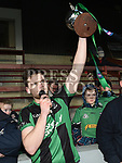 Dundalk Young Irelands captain Cian O'Nairaigh lifts the trophy after they beat St Brigid's in the Leinster JFC. Photo:Colin Bell/pressphotos.ie