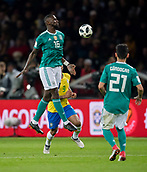 27th March 2018, Olympiastadion, Berlin, Germany; International Football Friendly, Germany versus Brazil; Antonio Ruediger (Germany) brings down a high ball on his chest