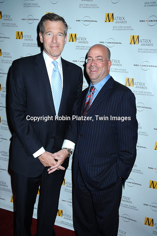 Brian Williams and Jeff Zucker at The 2010 Matrix Awards on April 19, 2010 at The Waldorf Astoria Hotel in New York City.