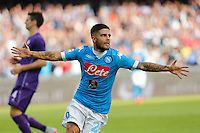 Napoli's Lorenzo Insigne celebrates after scoring during the Italian Serie A soccer match between SSC Napoli and AC Fiorentina  at San Paolo stadium in Naples,October 18, 2015
