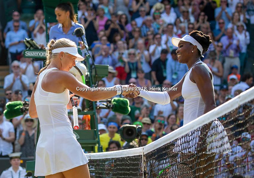 London, England, 6 th. July, 2018, Tennis,  Wimbledon, Womans singel third round, Kiki Bertens (NED) is congratulated by Venus Williams (USA) (R) Bertens won in three sets<br /> Photo: Henk Koster/tennisimages.com