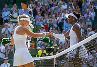 London, England, 6 th. July, 2018, Tennis,  Wimbledon, Womans singel third round, Kiki Bertens (NED) is congratulated by Venus Williams (USA) (R) Bertens won in three sets<br /> Photo: Henk Koster/tennisimages.com