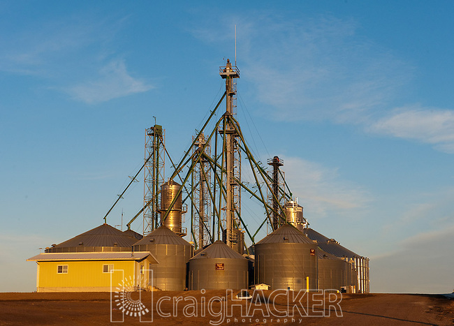 February 16, 2012 -- Colby, KS, U.S.A -- The sun sets on the grainery at the Frahm Farms headquarters near Colby, Kan. .--  Photo by Craig A. Hacker, Freelance