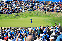 Rory McIlroy (Team Europe) in action on 16th green during the sunday singles at the Ryder Cup, Le Golf National, Paris, France. 30/09/2018.<br /> Picture Phil Inglis / Golffile.ie<br /> <br /> All photo usage must carry mandatory copyright credit (© Golffile | Phil Inglis)