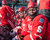 Dante Fabbro (BU - 17), Chad Krys (BU - 5) - The Boston University Terriers defeated the University of Massachusetts Minutemen 5-3 on Sunday, January 8, 2017, at Fenway Park in Boston, Massachusetts.The Boston University Terriers defeated the University of Massachusetts Minutemen 5-3 on Sunday, January 8, 2017, at Fenway Park.