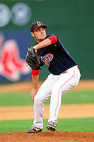 Lowell Spinners pitcher Danny Zandona (32) during a game versus the Hudson Valley Renegades at Lelacheur Park on August 30, 2015 in Lowell, Massachusetts.  (Ken Babbitt/Four Seam Images)