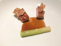 Part of the Peking duck interpreation: duck breast with crispy skin flavoured with Chinese five spice, leek filled with green apple and duck jus at Restaurant Tim Raue, Berlin, Germany. Photo Sydney Low