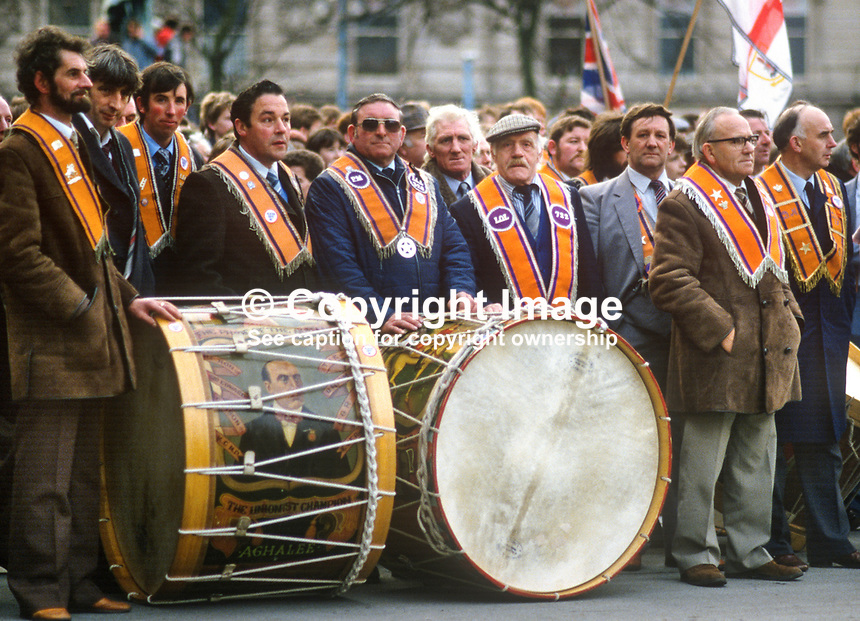 Anti Anglo-Irish Agreement Rally, City Hall, Belfast, Saturday, 23rd November 1985 - Orangemen, this group with their Lambeg drums, were prominent among the attendees. 19851112g..Copyright Image from Victor Patterson, 54 Dorchester Park, Belfast, UK, BT9 6RJ..Tel: +44 28 9066 1296.Mob: +44 7802 353836.Voicemail +44 20 8816 7153.Skype: victorpattersonbelfast.Email: victorpatterson@me.com.Email: victorpatterson@ireland.com (back-up)..IMPORTANT: If you wish to use this image or any other of my images please go to www.victorpatterson.com and click on the Terms & Conditions. Then contact me by email or phone with the reference number(s) of the image(s) concerned.