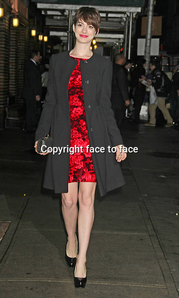Anne Hathaway at The Ed Sullivan Theater for an appearance on Late Show with David Letterman. New York, 10.12.2012...Credit: MediaPunch/face to face..- Germany, Austria, Switzerland, Eastern Europe, Australia, UK, USA, Taiwan, Singapore, China, Malaysia and Thailand rights only -