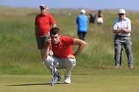Devin Morley (Oughterard) on the 9th green during Round 4 of the East of Ireland Amateur Open Championship 2018 at Co. Louth Golf Club, Baltray, Co. Louth on Monday 4th June 2018.<br /> Picture:  Thos Caffrey / Golffile<br /> <br /> All photo usage must carry mandatory copyright credit (&copy; Golffile | Thos Caffrey)