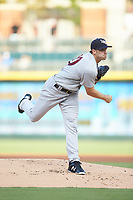 Scranton/Wilkes-Barre RailRiders starting pitcher Brody Koerner (90) follows through on his delivery against the Charlotte Knights at BB&T BallPark on August 14, 2019 in Charlotte, North Carolina. The Knights defeated the RailRiders 13-12 in ten innings. (Brian Westerholt/Four Seam Images)