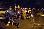 Annual candle light Scots walk during a yuletide evening in winter, Volcano, Calif.<br /> <br /> Traditional Celtic Oidche Choinnle, or Night of Candles to light the way of a stranger (Holy Family) during the Christmas Season.<br /> <br /> Also as a as a symbol of goodwill wishing one a fire to warm and a light to guide during the cold winter season in Scotland.<br /> <br /> Walk starts at community hall and ends with a Celtic Blessing from the steps of St. Bernard's Catholic Church.
