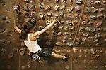 Israel, Tel Aviv. Wall climbing in Hayarkon park