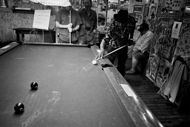 Schekter Lee, Doug Newcomb and Chuck Tannert playing pool at Ground Zero Blues Club in Clarksdale, Mississippi, USA, September, 2007
