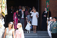 Mariage du Prince Ernst junior de Hanovre et de Ekaterina Malysheva &agrave; l'&eacute;glise Markkirche &agrave; Hanovre.<br /> Allemagne, Hanovre, 8 juillet 2017.<br /> Wedding of Prince Ernst Junior of Hanover and Ekaterina Malysheva at the Markkirche church in Hanover.<br /> Germany, Hanover, 8 july 2017<br /> Pic :  Prince Christian of Hanover &amp; his mother Chantal Hochuli &amp; Alessandra de Osma