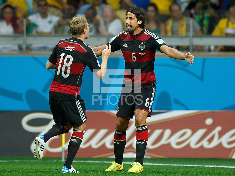 Toni Kroos of Germany celebrates scoring a goal with Sami Khedira after making it 0-4