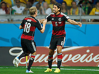 Toni Kroos of Germany celebrates scoring a goal with Sami Khedira after making it 0-4